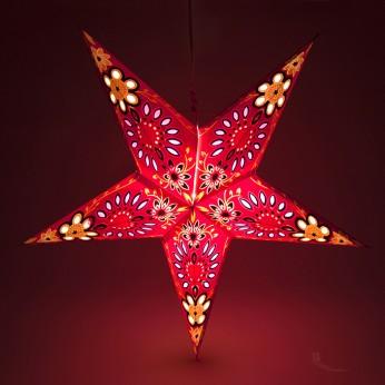 Etoile lumineuse en papier rouge / violet / blanc